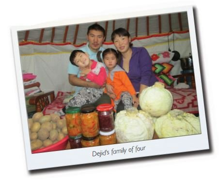 Dejid, a mother of two, is all smiles with her family. She learnt nutrition and vegetable-growing skills through one of World Vision's projects in Mongolia. Today, she and her family are happy and healthy.
